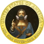 USA QUARANTINED ART - SALVATOR MUNDI RESPIRATOR - Leonardo Da Vinci series CORONAVIRUS American Silver Eagle 2020 Walking Liberty $1 Silver coin Gold plated 1 oz